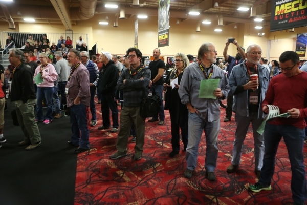 Registered bidders stand in the main auction area for motorcycles during the Mecum Auctions event at South Point casino-hotel on Saturday, Jan. 9, 2016, in Las Vegas. Erik Verduzco/Las Vegas Revie ...