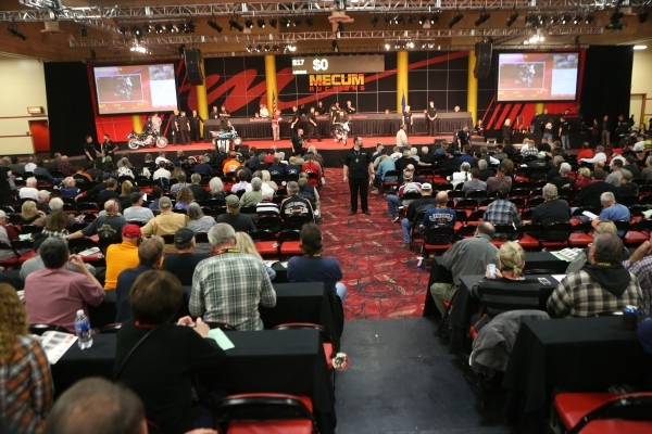 Registered bidders sit in the main auction area for motorcycles during the Mecum Auctions event at South Point casino-hotel on Saturday, Jan. 9, 2016, in Las Vegas. Erik Verduzco/Las Vegas Review- ...