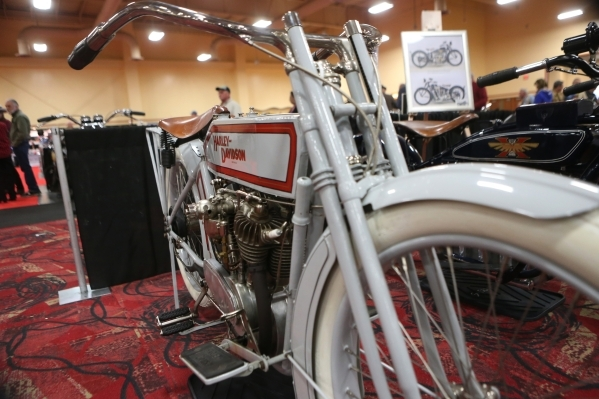A 1914 Harley-Davidson Model 10E motorcycle is seen on display during the Mecum Auctions event at South Point casino-hotel on Saturday, Jan. 9, 2016, in Las Vegas. Erik Verduzco/Las Vegas Review-J ...