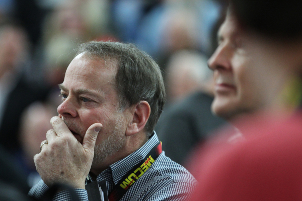 Brown M. Maloney takes a moment before placing a winning bid for a 1962 Honda C115 motorcycle during the Mecum Auctions event at South Point casino-hotel on Saturday, Jan. 9, 2016, in Las Vegas. E ...