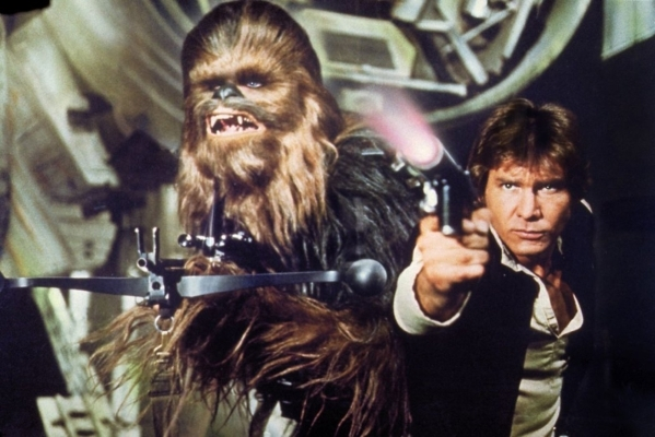 """Peter Mayhew as Chewbacca and Harrison Ford as Han Solo in """"Star Wars"""" (Lucasfilm)"""