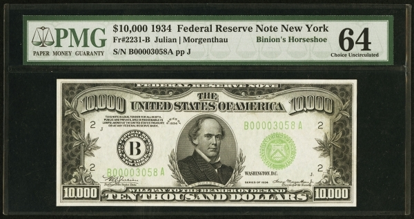 A $10,000 bill that was part of a display at the entrance to Binion's Horseshoe in downtown Las Vegas features a picture of Salmon Chase, who was Abraham Lincoln's Treasury secretary b ...