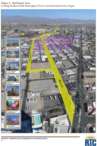 This map in a Regional Transportation Commission of Southern Nevada application for federal money shows the Main Street and Commerce Street couplet, as traffic will flow north on Main Street and t ...