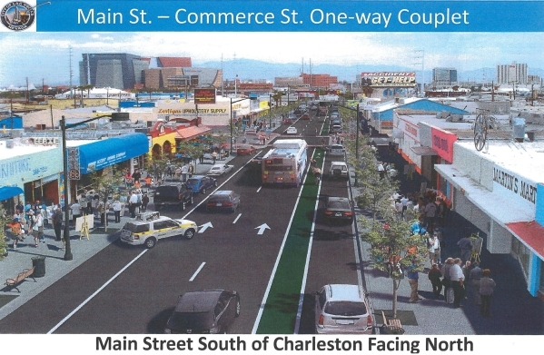 This rendering shows the Main Street construction project in the Downtown Las Vegas Arts District. (Courtesy, City of Las Vegas)