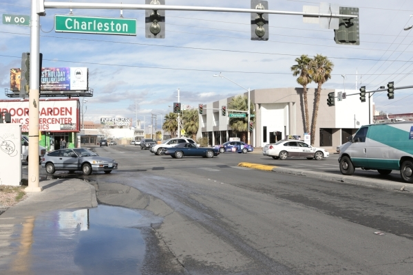 South Main Street looking north from West Charleston Boulevard in Las Vegas is shown on Wednesday, Jan. 6,  2016. (Donavon Lockett/Las Vegas Review-Journal)