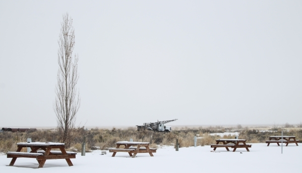 Tables and a truck are shown at the Malheur National Wildlife Refuge headquarters, which is occupied by anti-government protestors, near Burns, Ore. on Tuesday, Jan. 5, 2016. The protestors, many  ...