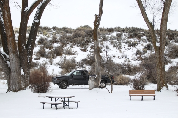 A truck drives through the Malheur National Wildlife Refuge headquarters, which is occupied by anti-government protestors, near Burns, Ore. on Tuesday, Jan. 5, 2016. The protestors, many of them a ...
