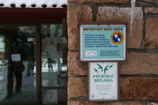 Signs are displayed at the visitor's center in the Malheur National Wildlife Refuge headquarters, which is occupied by anti-government protestors, near Burns, Ore. on Tuesday, Jan. 5, 2016.  ...