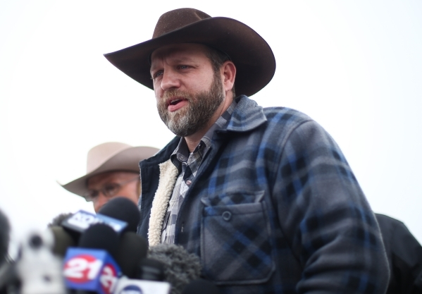 Ammon Bundy speaks with reporters at a news conference by the entrance of Malheur National Wildlife Refuge headquarters near Burns, Ore. on Tuesday, Jan. 5, 2016. Chase Stevens/Las Vegas Review-Jo ...