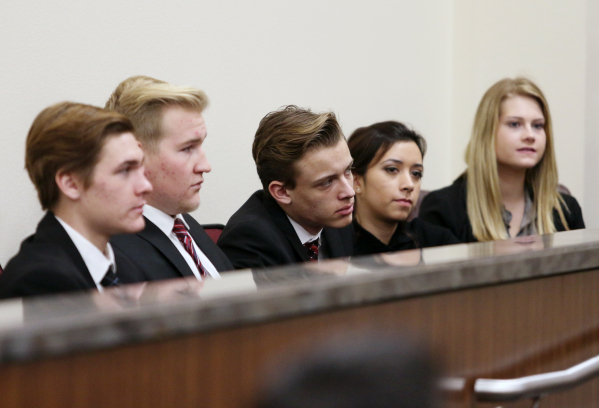 Faith Lutheran Middle School & High School students attend oral arguments in two criminal cases from Nevada Court of Appeals as part of a Justice and Advocacy Program at the school Wednesday,  ...