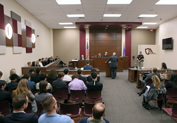 Faith Lutheran students, at left and in jury box, attend oral arguments in two criminal cases from Nevada Court of Appeals as part of a Justice and Advocacy Program at the school Wednesday, Jan. 6 ...