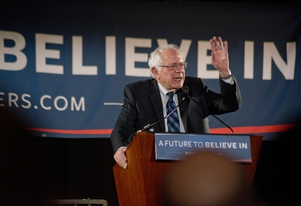 "Democratic presidential candidate Sen. Bernie Sanders, I-Vt., speaks to the crowd during the ""Future to Believe In"" rally supporting Sanders inside the Tropicana hotel-casino in Las Vega ..."