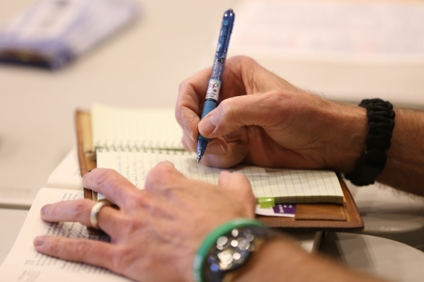 Jerimac Ratliff takes notes during a bible study session at Desert Springs United Methodist Church Thursday, Jan. 7, 2016, in Las Vegas. Rachel Aston/Las Vegas Review-Journal Follow @rookie__rae
