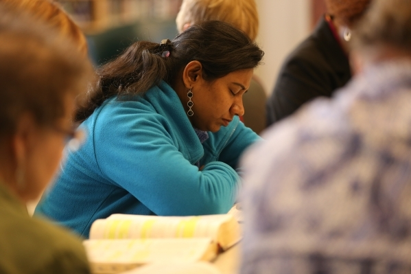 Roselin Prince prays before a bible study session at Desert Springs United Methodist Church Thursday, Jan. 7, 2016, in Las Vegas. Rachel Aston/Las Vegas Review-Journal Follow @rookie__rae