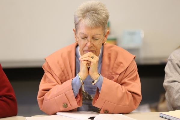 Brenda Morrow prays before a bible study session at Desert Springs United Methodist Church Thursday, Jan. 7, 2016, in Las Vegas. Rachel Aston/Las Vegas Review-Journal Follow @rookie__rae