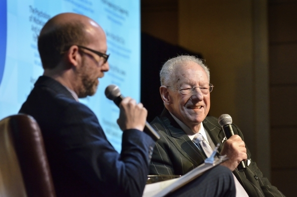 "Former Las Vegas Mayor Oscar Goodman, right, smiles during an interview with attorney Dayvid Figler during ""The Kosher Nostra: A Conversation with Oscar B. Goodman,"" at the Mob Museum at ..."