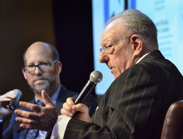 "Former Las Vegas Mayor Oscar Goodman, right, speaks during an interview with attorney Dayvid Figler during ""The Kosher Nostra: A Conversation with Oscar B. Goodman,"" at the Mob Museum at ..."