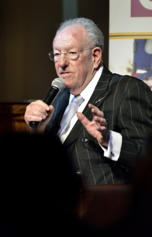 "Former Las Vegas Mayor Oscar Goodman speaks during an interview with attorney Dayvid Figler during ""The Kosher Nostra: A Conversation with Oscar B. Goodman,"" at the Mob Museum at 300 Ste ..."