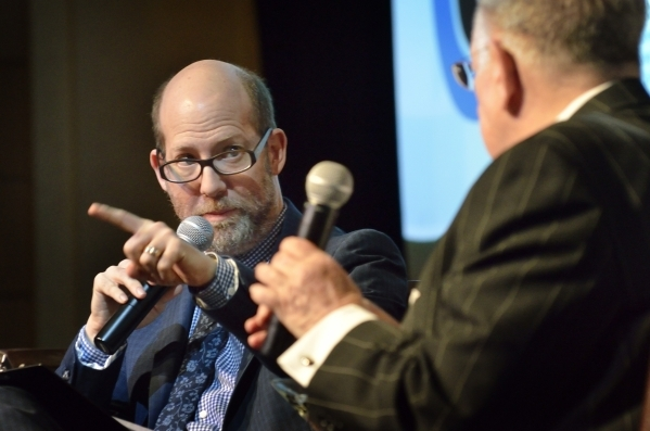 """Attorney Dayvid Figler, left, interviews former Las Vegas Mayor Oscar Goodman during """"The Kosher Nostra: A Conversation with Oscar B. Goodman,"""" at the Mob Museum at 300 Stewart Ave. in L ..."""