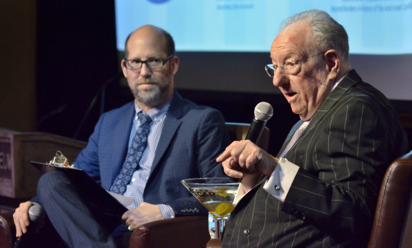 "Former Las Vegas Mayor Oscar Goodman, right, is shown in an interview with attorney Dayvid Figler during ""The Kosher Nostra: A Conversation with Oscar B. Goodman,"" at the Mob Museum at 3 ..."
