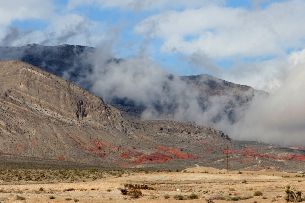 Low and moving clouds are shown at Red Rock Canyon National Conservation Area near Sky Vista Drive on the western edge of the Las Vegas Valley on Wednesday, Jan. 6, 2016. Ronda Churchill/Las Vegas ...