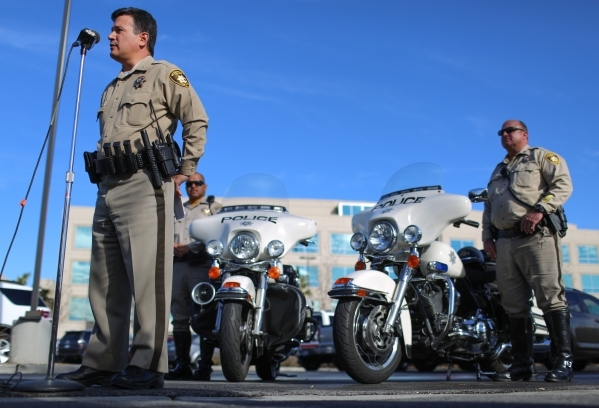 Deputy Chief Gary Schofield makes the announcement to members of the media that Metro will return to responding to non-injury crashes at Las Vegas police headquarters on Wednesday, Jan. 6, 2016, i ...