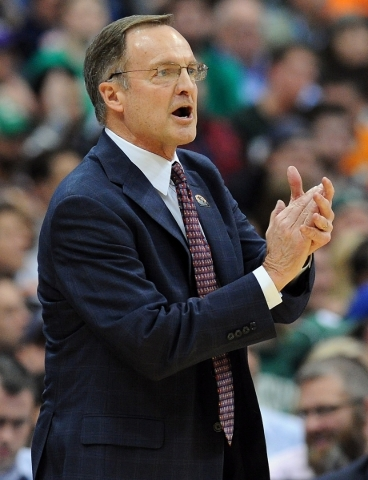 Mar 27, 2015; Syracuse, NY, USA; Oklahoma Sooners head coach Lon Kruger during the first half against the Michigan State Spartans in the semifinals of the east regional of the 2015 NCAA Tournament ...