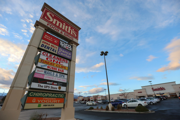 Cars fill the parking lot of the Smith's Shopping Center in Las Vegas on Thursday, Jan. 7, 2016. The Smith's Shopping Center, located on the northwest corner of South Fort Apache Road  ...