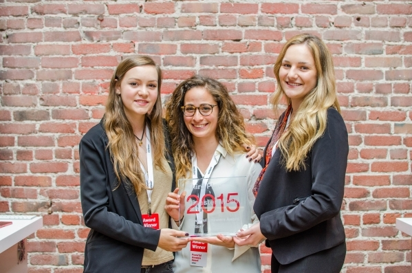 The team that devised Disaster Mesh, third-place winner in Verizon's 2015 Powerful Answers Award contest, are seen in summer 2015. From left are Margaux Giles, Karla Dana and Katelyn Dunn. D ...