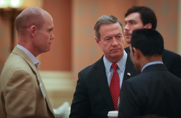 Former Maryland governor and Democratic presidential candidate Martin O'Malley speaks to members of the Economic Club of Las Vegas at Caesars Palace on Thursday, Jan. 7, 2016. Brett Le Blanc ...