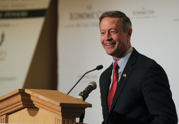 Former Maryland governor and Democratic presidential candidate Martin O'Malley speaks to the Economic Club of Las Vegas at Caesars Palace on Thursday, Jan. 7, 2016. Brett Le Blanc/Las Vegas  ...