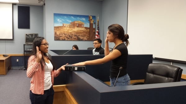 Senior mock trial students at Canyon Springs are seen practicing for their spring trial. Twice a year, students conduct a full-length mock trial, presided over by a local judge. In the spring, the ...