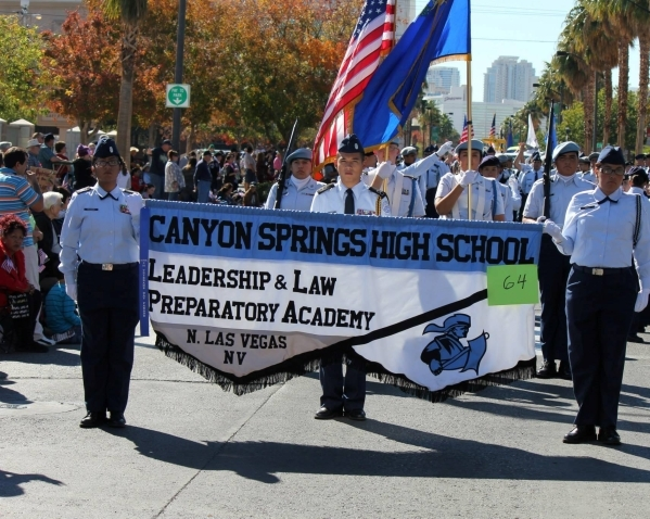 Canyon Springs students in the Air Force JROTC program are seen marching in last year's Veterans Day parade in downtown Las Vegas. All of the military leadership majors are required to take  ...