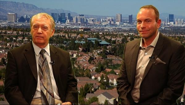 Las Vegas Review-Journal's Hal DeKeyser, left, interviews Greater Las Vegas Association of Realtors President Scott Beaudry about the 2016 Las Vegas housing market.