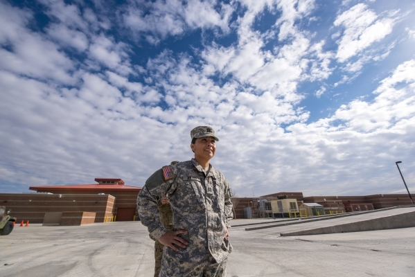 Capt. Liberty Reyes stands outside at the Nevada Army National Guard Las Vegas Readiness Center in Las Vegas on Sunday, Jan. 10, 2015. Joshua Dahl/Las Vegas Review-Journal