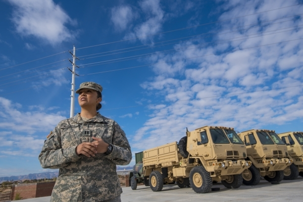 Capt. Denisse Ramos stands outside at the Nevada Army National Guard Las Vegas Readiness Center in Las Vegas on Sunday, Jan. 10, 2015. Joshua Dahl/Las Vegas Review-Journal
