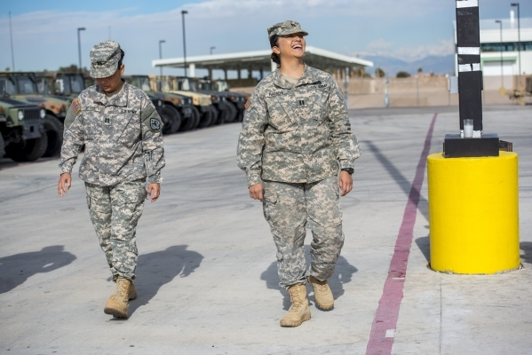 Capt. Liberty Reyes, left, and Capt. Denisse Ramos walk outside at the Nevada Army National Guard Las Vegas Readiness Center in Las Vegas on Sunday, Jan. 10, 2015. Joshua Dahl/Las Vegas Review-Journal
