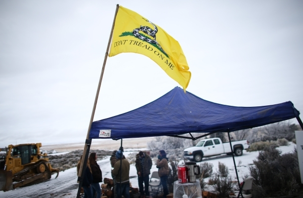 "A ""Don't Tread On Me"" flag flies by the entrance of the Malheur National Wildlife Refuge headquarters, occupied by anti-government protesters, near Burns, Ore. on Thursday, Jan. 7, ..."