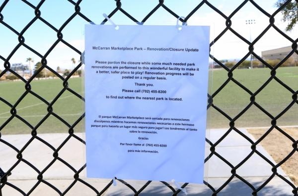 A notice is placed on the fence indicating the temporary closure of the soccer fields at 5800 Surrey Street, Near Russell Road between Maryland Parkway and Eastern Avenue on Friday, Jan. 8, 2016.  ...