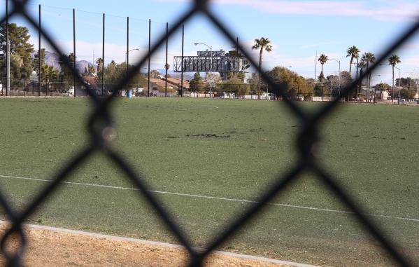 The soccer fields at 5800 Surrey Street, Near Russell Road between Maryland Parkway and Eastern Avenue are seen on Friday, Jan. 8, 2016. Two soccer fields near McCarran Airport have been closed by ...