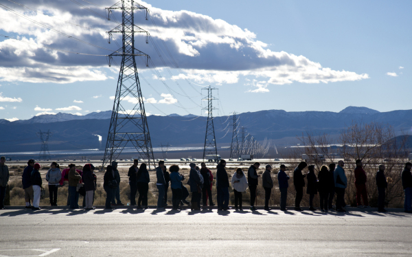 Hundreds wait in a line outside the Primm Valley Lotto Store just over the California border near Primm, Nev. on Friday, Jan. 8, 2016. The Powerball jackpot is currently estimated at over $800 mil ...
