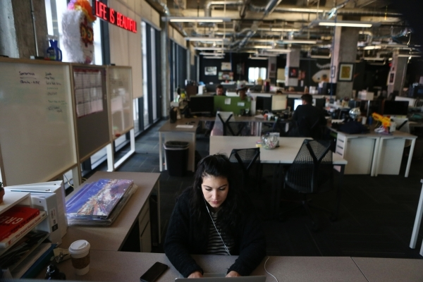 Lauren Delfrago, production coordinator for Life is Beautiful, works at her desk inside the Life is Beautiful headquarters on Friday, Jan. 8, 2016, in Las Vegas. Erik Verduzco/Las Vegas Review-Jou ...