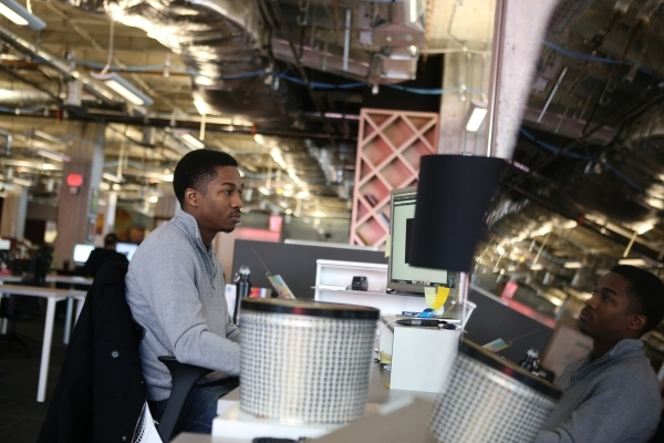 Javon Isaac, graphic designer for Life is Beautiful, works at his desk inside the Life is Beautiful headquarters on Friday, Jan. 8, 2016, in Las Vegas. Erik Verduzco/Las Vegas Review-Journal Follo ...