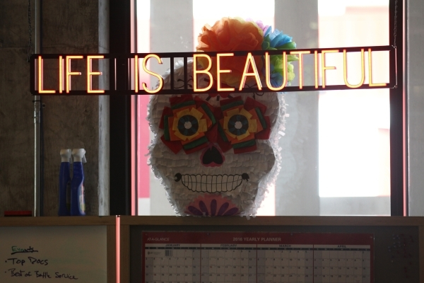 A sign inside the Life is Beautiful headquarters is seen on Friday, Jan. 8, 2016, in Las Vegas. Erik Verduzco/Las Vegas Review-Journal Follow @Erik_Verduzco