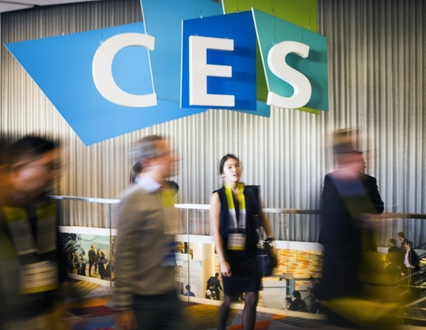 People walk by a CES sign at the Sands Expo on Thursday, Jan. 7,2016. Jeff Scheid/Las Vegas Review-Journal Follow him @jlscheid