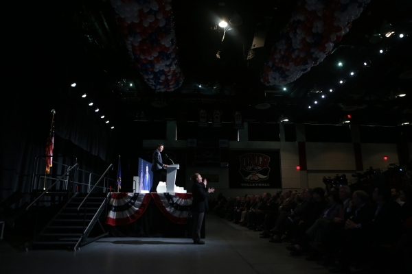 Gov. Brian Sandoval speaks during an event to celebrate preparations for the 2016 and final presidential debate at UNLV at Cox Pavilion at UNLV on Wednesday, Jan. 13, 2016, in Las Vegas. The Las V ...