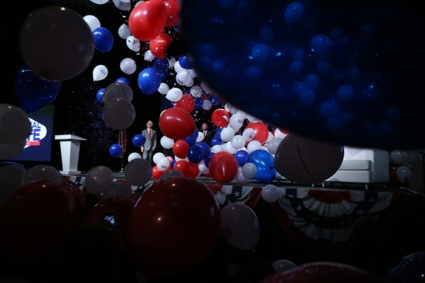 Balloons fall down at the end of an event to celebrate preparations for the 2016 and final presidential debate at UNLV at Cox Pavilion at UNLV on Wednesday, Jan. 13, 2016, in Las Vegas. The Las Ve ...