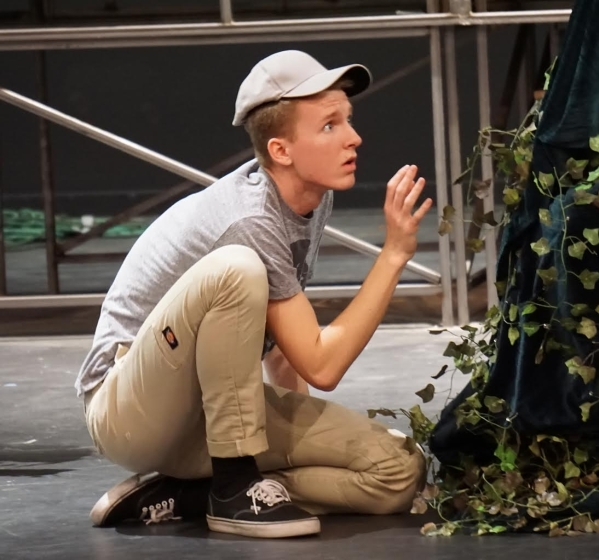 """Jackson Langford reacts in a scene Jan. 4 during a rehearsal for """"Big Fish,"""" the next production scheduled at Faith Lutheran High School. Performances are set for Jan. 22-31 at the Faith ..."""