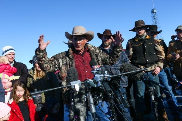 Arizona rancher and anti-government protester LaVoy Finicum speaks during a news conference at the Malheur National Wildlife Refuge headquarters, which the group is occupying, near Burns, Ore. on  ...