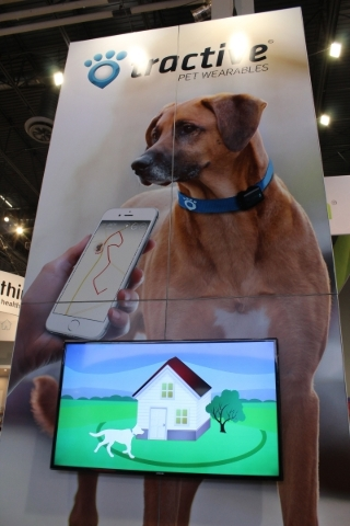 Tractive, shown at CES, is a device that monitors the location of pets. People can simply follow their pets' movements, get alerts if they get out of the yard or set up an invisible fence. ( ...